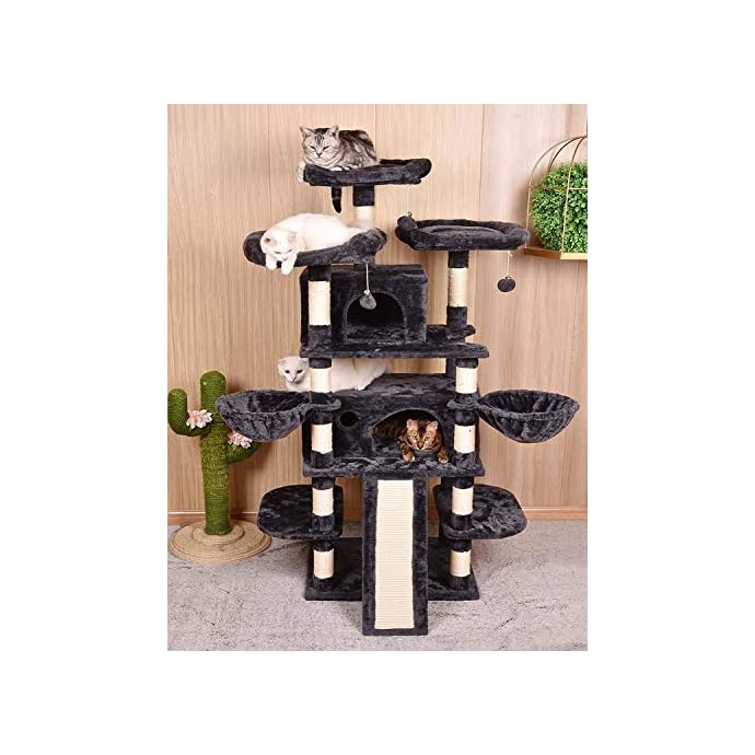 Cat Tree Amolife Heavy Duty 68 Inch Multi-Level Cat Tree King/X-Large Size Cat Tower with Scratching Posts Kitty Pet Play House…