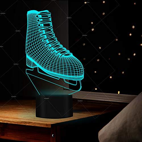 JUMRO Schlittschuhe 3D Led Illusion Tisch Schreibtisch Deko Lampe 7 Farben Ändern Nacht Licht Für Schlafzimmer Home Decoration, Hochzeit, Geburtstag, Weihnachten...