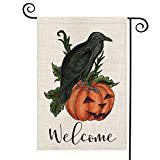 AVOIN Crow Raven Pumpkin Garden Flag Vertical Double Sized Welcome Quote, Fall Halloween Nevermore Jack O'Lantern Burlap Yard Outdoor Decoration 12.5 x 18 Inch