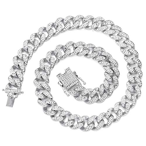 13mm Cuban Link Chain for Mens Women Heavy Strong Necklaces Chain Iced Out Miami Curb Chain Bling Bling Hip Hop Necklace Chain Silver Plated Rhinestone CZ Clasp Jewelry Choker Chain 18
