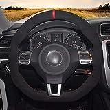 HCDSWSN Cubierta de Cuero del Volante de Gamuza Negra para Volkswagen Golf 6 GTI MK6 VW Polo GTI Scirocco R Passat CC R-Line 2010