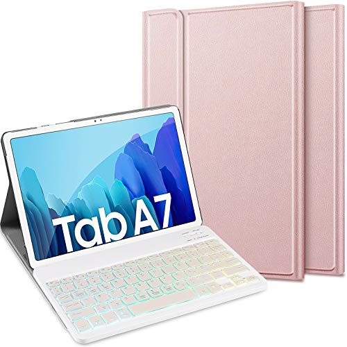 ELTD Tastatur Hülle für Samsung Galaxy Tab A7 (Deutsches QWERTZ), Schützhülle & Bluetooth Abnehmbarer Tastatur mit 7 Farbige Hintergr&beleuchtung für Samsung Galaxy Tab A7 2020 10.4 Zoll, Roségold
