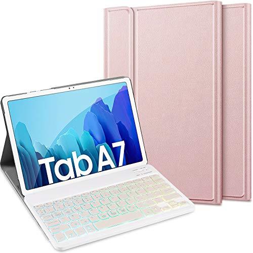 ELTD Tastatur Hülle für Samsung Galaxy Tab A7 (Deutsches QWERTZ), Schützhülle und Bluetooth Abnehmbarer Tastatur mit 7 Farbige Hintergrundbeleuchtung für Samsung Galaxy Tab A7 2020 10.4 Zoll, Roségold