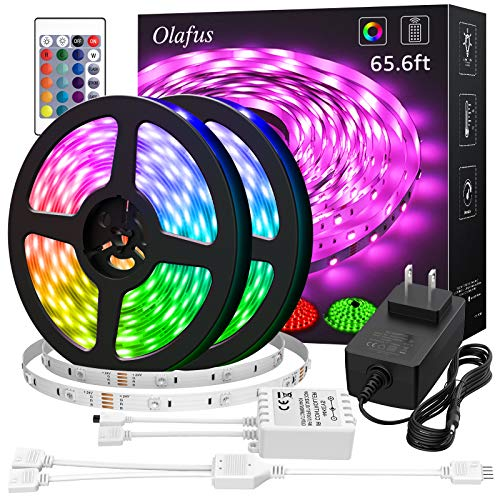$6.43 65.6ft RGB LED Strip Lights Clip the 45% off coupon, no promo code needed