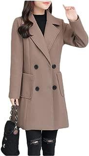 Howely Women's Classic Lapel Plus-Size Woolen Jacket Mid-Long Woolen Coat