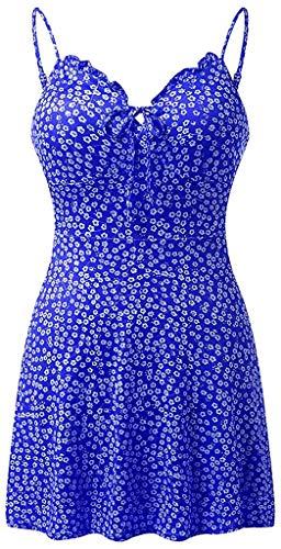 Dresses for Women Casual Summer,Sexy Beach Party Dress Women's Floral Print Sleeveless Dress A-Line Mini Sundress,Blue,XX-Large