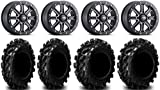 Bundle - 9 Items: ITP Inertia Bdlk 14' Wheels Bk +40mm 27' Swamp Lite Tires [4x156 Bolt Pattern 3/8x24 Lug Kit]