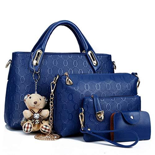 MWY Bolso de Mujer, Colgante de Oso de Moda, Elegante Bolso de Cuero Azul (Cuatro Piezas)