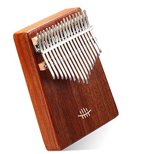 Musikinstrument aus Mahagoni mit Loch unten Kalimbas aus Holz mit 17 Tasten (Größe: One Size; Farbe: Braun)