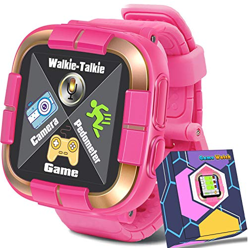 Smartwatch for Girls Boys,Kids Walkie Talkie Game Smart Watch with Camera Touch Screen Pedometer,Wrist Bracelet Kids Electronic Watches Birthday Holiday Toys Gifts (Pink)