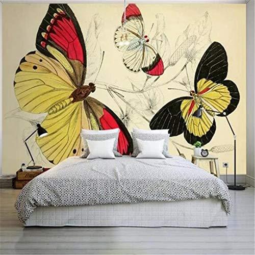 Gepersonaliseerd 3D-fotobehang van vlies voor slaapkamer/tv/bank/achtergrond/behang met vlinder/bloemen/planten 430cm*300cm
