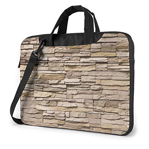 15.6 inch Laptop Shoulder Briefcase Messenger Rustic Rocks Brick Wall Tablet Bussiness Carrying Handbag Case Sleeve