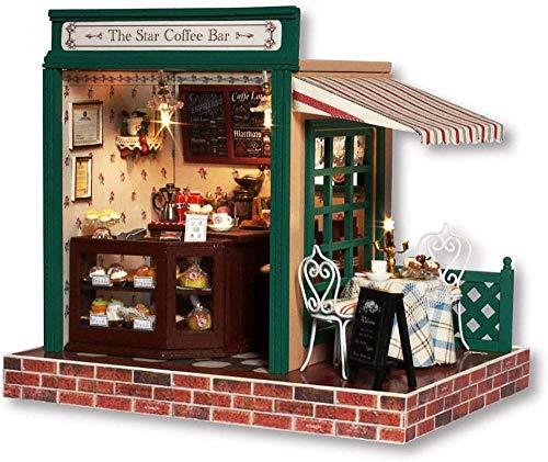YUACY Puppen Haus Kit,DIY Architektur Modell Architektur MöBel Tasche Led Spieluhr Miniatur HöLzerne Puppe Haus Stern Kaffeebar