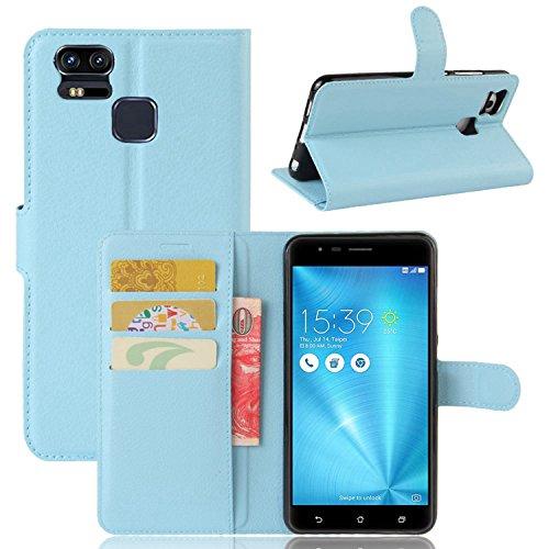 Tasche für Asus ZenFone 3 Zoom ZE553KL (5.5 zoll) Hülle, Ycloud PU Ledertasche Flip Cover Wallet Hülle Handyhülle mit Stand Function Credit Card Slots Bookstyle Purse Design blau