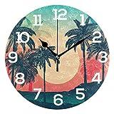 Reloj de Pared Sunset Tropical Palm Siluetas Reloj de acrílico Redondo Blanco Números Grandes Reloj silencioso sin tictac Pintura Decorativa Reloj con Pilas para la Biblioteca del Hotel de la Escuela