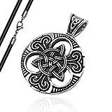 Anhänger Keltischer Knoten Triquetra Edelstahl Halskette Lederkette Herren Damen Dreiecksknoten Celtic anhänger+lederkette
