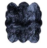 LAMBZY Shapes Sheepskin Six Pelts Area Rug, Black