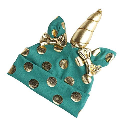 TININNA Coton Bowknot Dot Hat avec Licorne Mignon Bébé Beanie Cap Chapeau Protection des Oreilles Chapeau Casquette Photo Accessoires pour Bébé Enfants Garçons Filles Vert