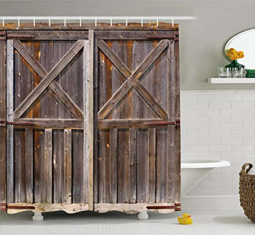 """Ambesonne Rustic Shower Curtain, Old Wooden Barn Door of Farmhouse Oak Countryside Village Board Rural Life Photo Print, Cloth Fabric Bathroom Decor Set with Hooks, 70"""" Long, Brown"""