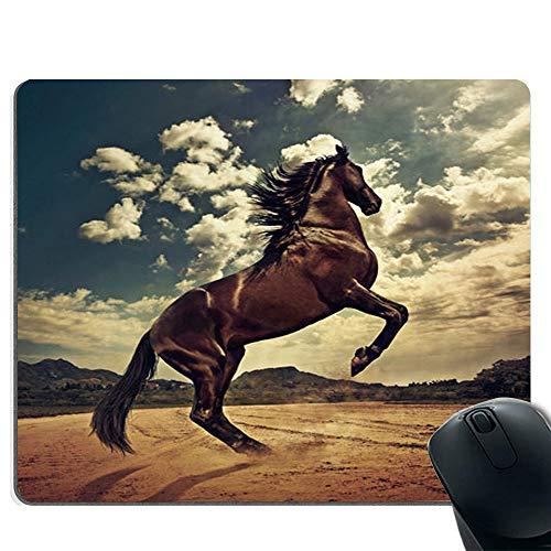 Mouse pad potente da cavallo, base in gomma antiscivolo e tappetino per mouse da gioco con bordo cucito
