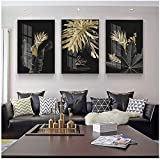 Black Golden Monstera Leaf Canvas Painting Botanical Poster Living Room Home Decor Triptych 60x80cm Con marco Dorado