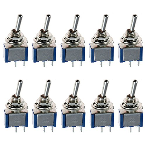 ESUPPORT On/Off Mini Miniature Toggle Switch Car Dash Dashboard SPST 2Pin Blue Pack of 10