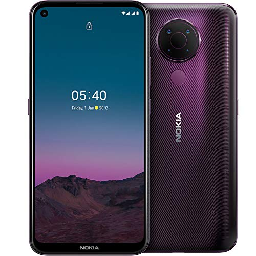 Nokia 5.4 Smartphone mit 6,39-Zoll-HD+-Display, 4 GB RAM, 128 GB Speicher, 48-MP-Vierfach-Kamera, Qualcomm Snapdragon 662, 2 Tagen Akkulaufzeit und Android-Upgrades, Dual-SIM - Dusk