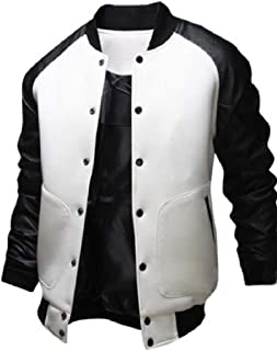 Abetteric Men Luxury Pocketed Stand-up Collar Button Up Patchwork College Jacket