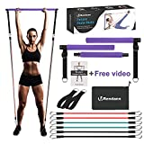 Portable Pilates Bar Exercise Kit with Fitness Video - Stackable 3 Pairs of Resistance Bands (15, 20, 30LB) - Home Gym Equipment for Men and Women, Workout Kit for Body Toning (Purple).