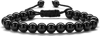 Beaded Bracelets for Men Women - 8mm Tiger Eye Bead Bracelet Adjustable Natural Lava Rock Stone Essential Oil Anxiety Aromatherapy Bracelets Jewelry Gifts