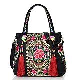 Bolso de hombro de las mujeres bordado retro bordado bonita flor bohemia estilo étnico tote tote cruz cuerpo bolso de gran capacidad bolso para niña (Color : B)