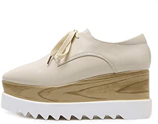 Women's Platform Shoes Low-Top Casual Shoes PU Retro Square Head Shoes Wedge Shoes Outdoor Walking Shoes Black Beige,Beige,39