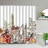 Cortina de ducha con diseño de flores y plantas, de moda, con gancho, impermeable, para decoración de bañera, pantalla de...
