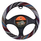 AOTOMIO 15 inch New Baja Blanket Car Steering Wheel Cover Universal Fit Most Cars Automotive Ethnic Style Coarse Flax Cloth