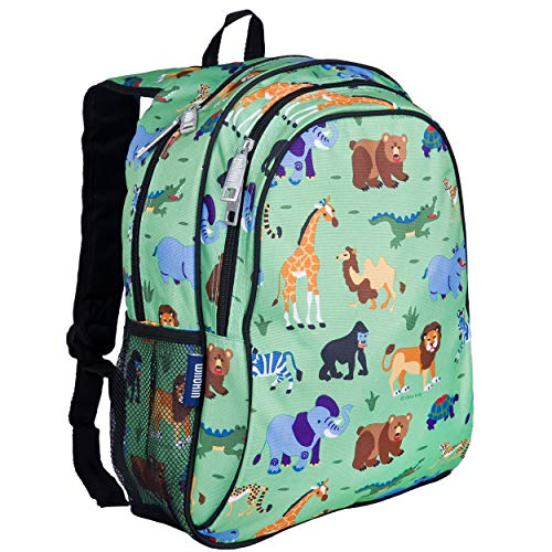 Wildkin Kids 15 Inch Backpack for Boys and Girls, Perfect Size for Preschool, Kindergarten and Elementary School, 600-Denier Polyester Fabric Backpacks, BPA-free, Olive Kids (Wild Animals)