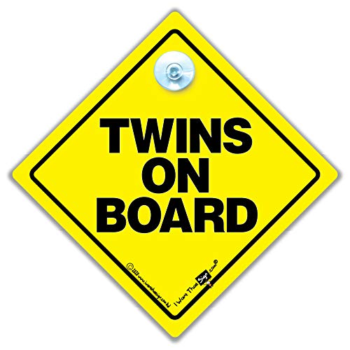 Product Image of the Twins On Board Car Sign, Baby on Board Sign Style Suction Cup Car Sign for Twins
