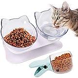 PQZATX 猫用ボウル、15度傾けた、猫用フードボウル、ダブル猫用食器、猫用フィーダー、スタンド付き、猫用給餌ボウル