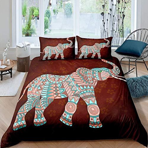 zzkds Hippie Bohemian Elephant Comforter Cover Set for Kids Adults Vintage Boho Style Duvet Cover Girls Woman Floral Print Bedding Set Indian Exotic Quilt Cover Bedroom Decor 2PcsDouble(No Comforter)