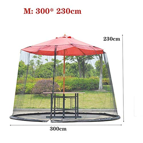 Nfudishpu Patio Umbrella Cover Mosquito Netting Screen, w/Zipper Door, Polyester Netting, Water Tube at Base to Hold in Place, Helps Protect from Mosquitoes