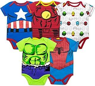 Marvel bodi para niño, 5 prendas, con diseño de Hulk, el Hombre Araña, el Hombre de Hierro y el Capitán América
