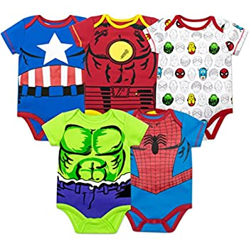 Marvel Baby Boys  5 Pack Bodysuits - The Hulk Spiderman Iron Man and Captain America  3-6 Months