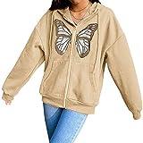 Sudaderas con Capucha de Mariposa para Mujer Sudadera con Cremallera de Diamantes de imitación de Gran tamaño Y2K E-Girls 90s Moda Chaquetas Vintage Pullover
