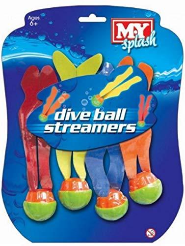 My Splash Lot de 4 balles avec serpentins pour jeux aquatiques