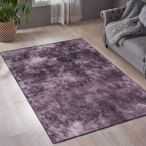 mimilos Kurzflor Teppich für Wohnzimmer-Dekorativer Baumwolle und Viskose Teppich - Teppich für modern Wohnung Dekoration-Teppich für Schlafzimmer,Esszimmer,Kinderzimmer(Damson, 200 x 290 cm)