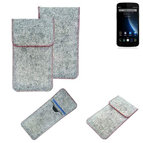 K-S-Trade Handy Schutz Hülle Für Doogee X6S Schutzhülle Handyhülle Filztasche Pouch Tasche Hülle Sleeve Filzhülle Hellgrau Roter Rand