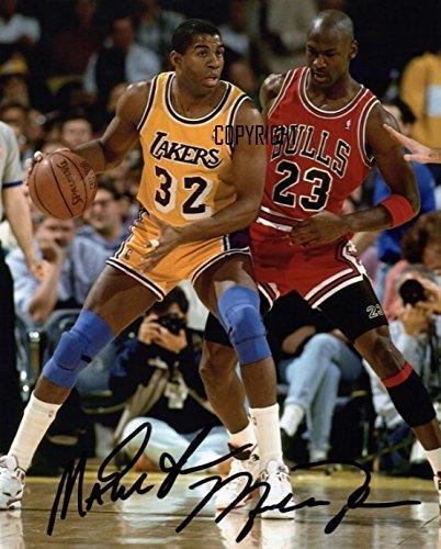 Fotografia autografata a tema 'Magic Johnson' Michael Jordan Basket, edizione limitata, con autografo stampato