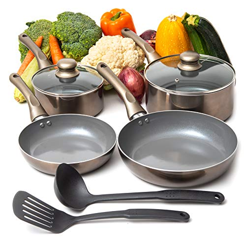Moss & Stone 8PCS Nonstick Cookware Set, Aluminum Pots and Pans with Cooking Utensils, Induction Cookware, Pots and Pans Set with Glass Lid