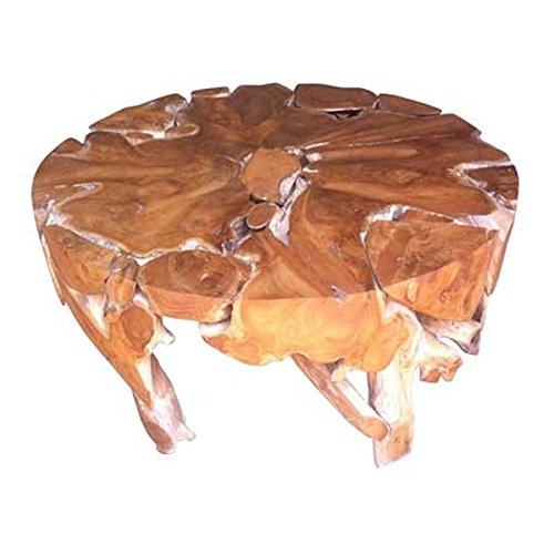 Salveo Teck Root Table basse ronde en bois (100 x 100 x 45 cm)