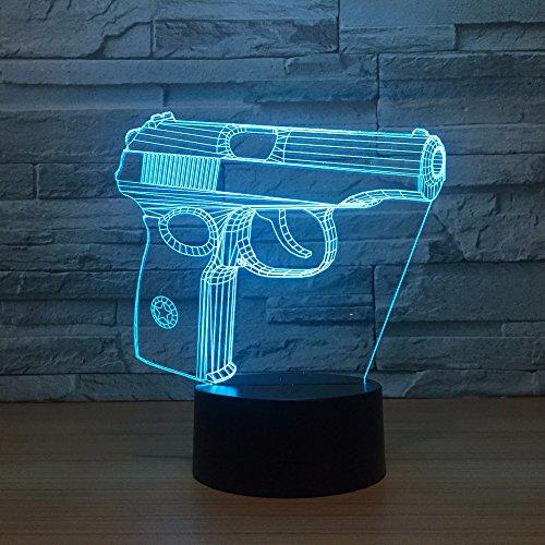 Jinson well 3D pistole gewehr Lampe optische Illusion Nachtlicht, 7 Farbwechsel Tisch Schreibtisch Dekoration Lampen perfekte Acryl Flat ABS Base USB Spielzeug