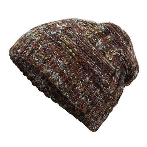 Faletony Bonnet Hiver en Laine Femme Bonnet de Queue de Cheval avec Trou Beanie Hat Multicolore Chaud (Café)